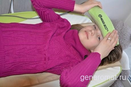 Мигрени,головные боли в височной части, применять по 10-15 минут пять и более раз в день при температуре 55-60 градусов.