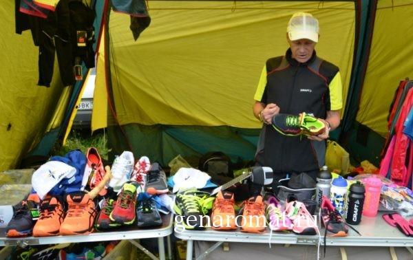 Продажа кроссовок на горном марафоне- Конжак