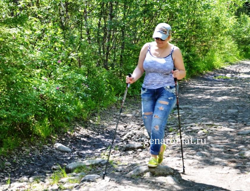 Ходьба с палками в лесу