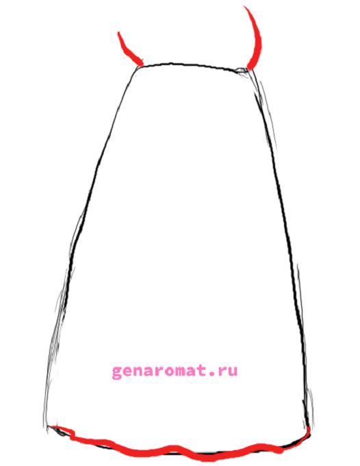 Как нарисовать русский народный костюм - сарафан. Рисуем поэтапно - карандашом -2