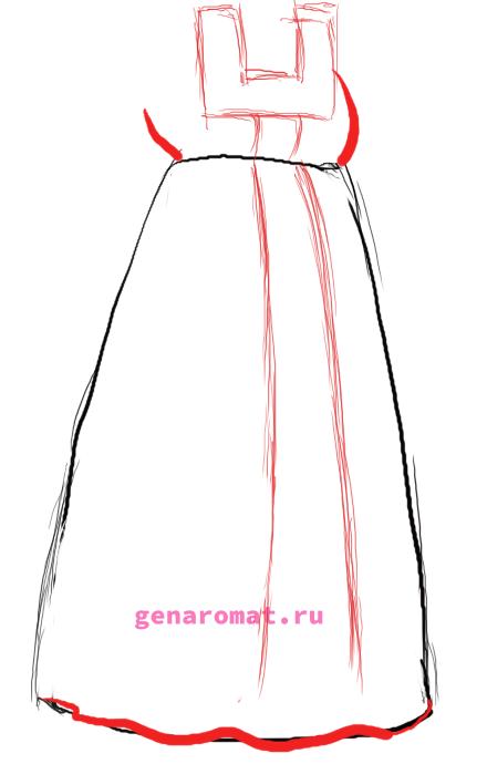 Как нарисовать русский народный костюм - сарафан. Рисуем поэтапно - карандашом-3