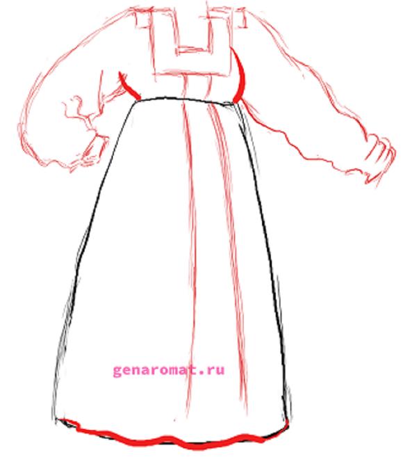 Как нарисовать русский народный костюм - сарафан. Рисуем поэтапно - карандашом -4