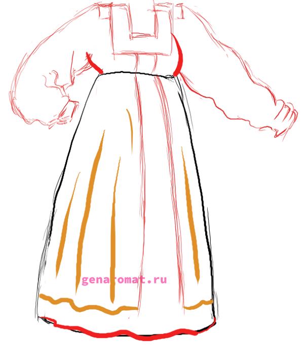 Как нарисовать русский народный костюм - сарафан. Рисуем поэтапно - карандашом -5