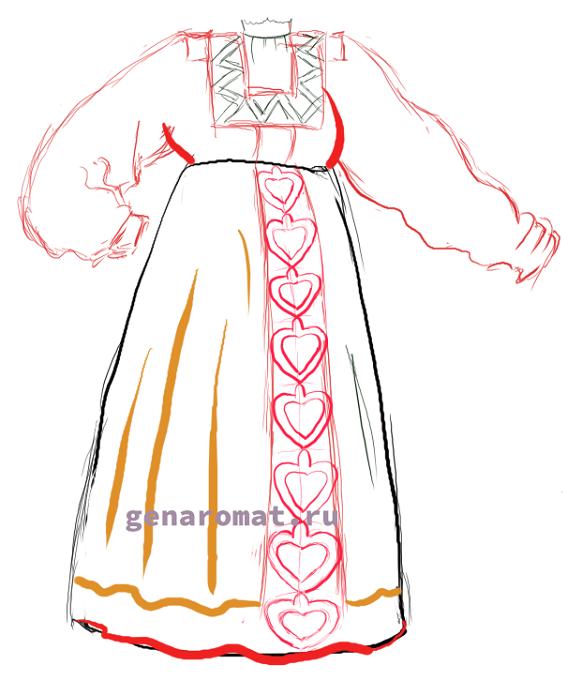 Как нарисовать русский народный костюм - сарафан. Рисуем поэтапно - карандашом-6