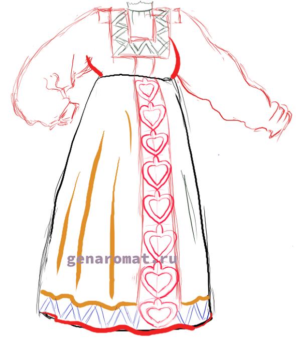 Как нарисовать русский народный костюм - сарафан. Рисуем поэтапно - карандашом-7