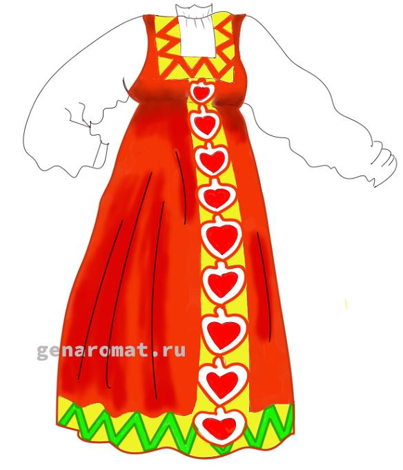 Как нарисовать русский народный костюм - сарафан-9